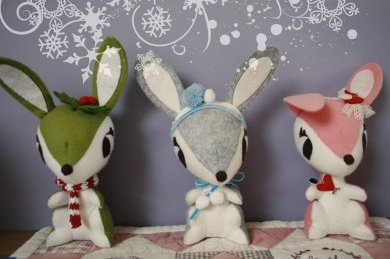 three felt bunnies