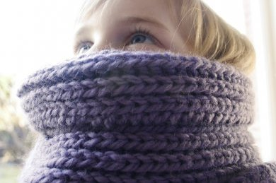 purple scarf detail